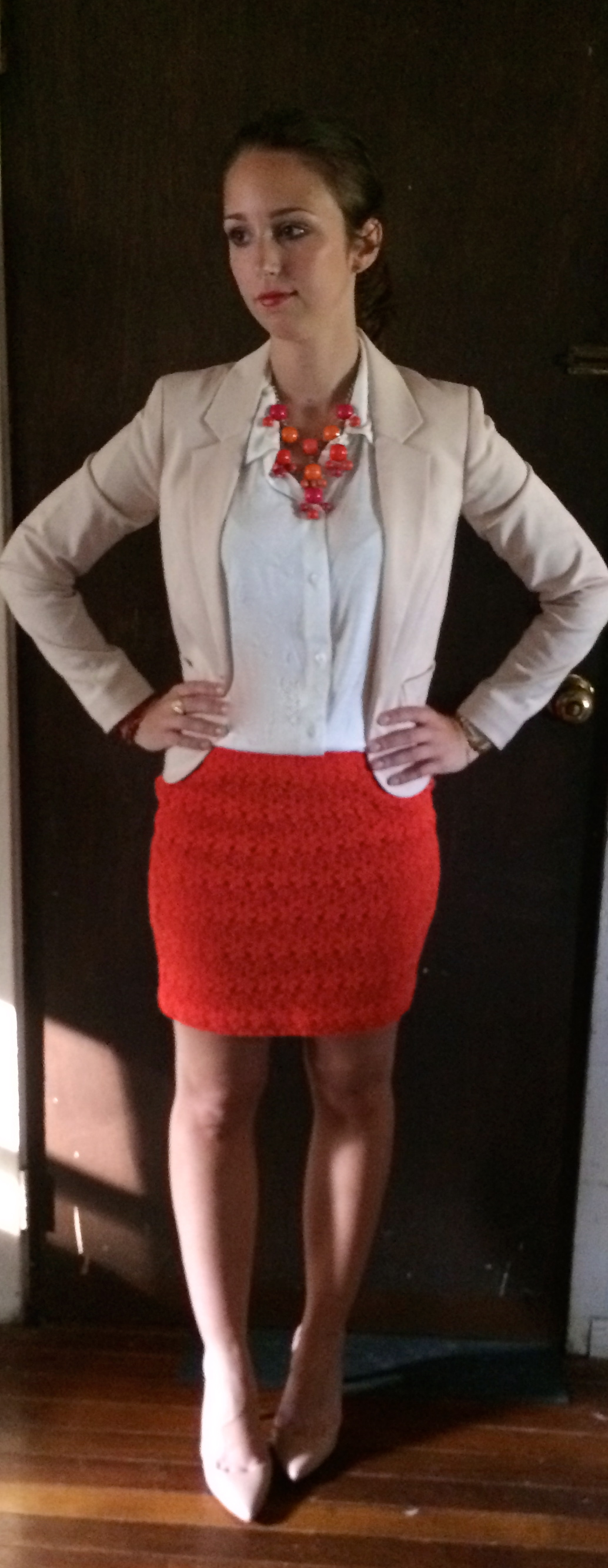 Orange dress what color cardigan goes