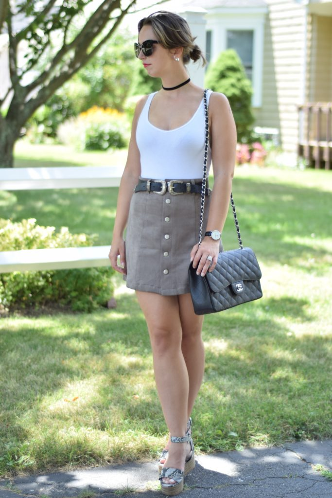 grey button up skirt