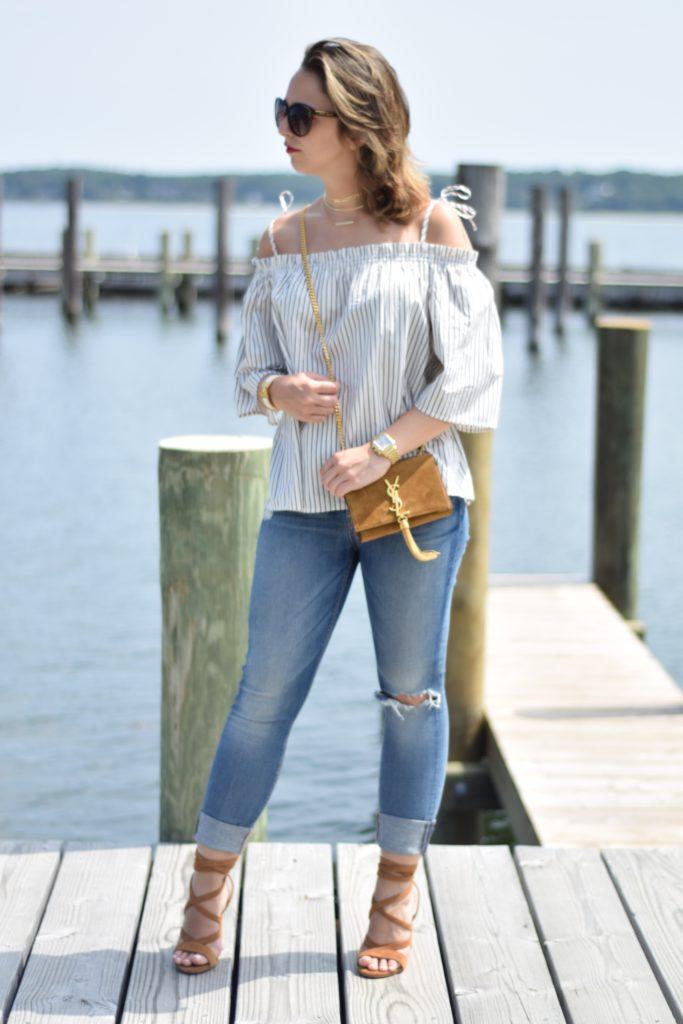 summer approved stripes-style- off the shoulder-denim