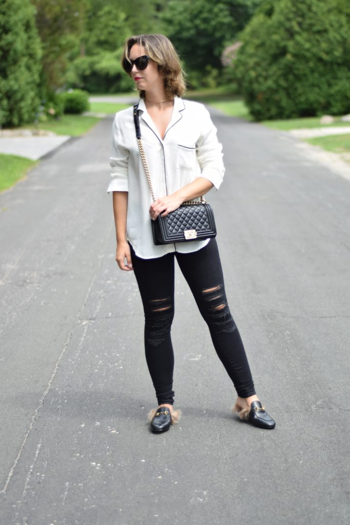 Pajama Top-Blouse with Piping-trend-fashion