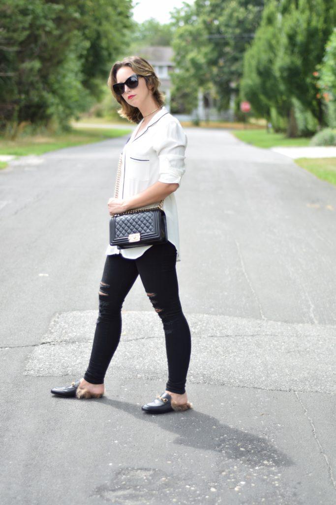 lifestyle-fashion-white blouse-black denim