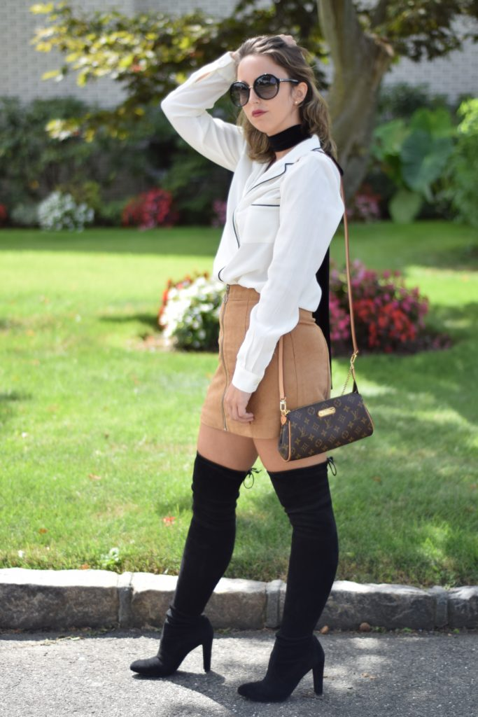 choker-fashion-style-camel-suede-skirt