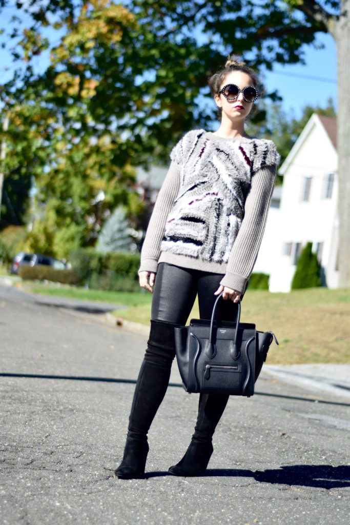 outfit-dvf-fur-sweater-coated-leggings