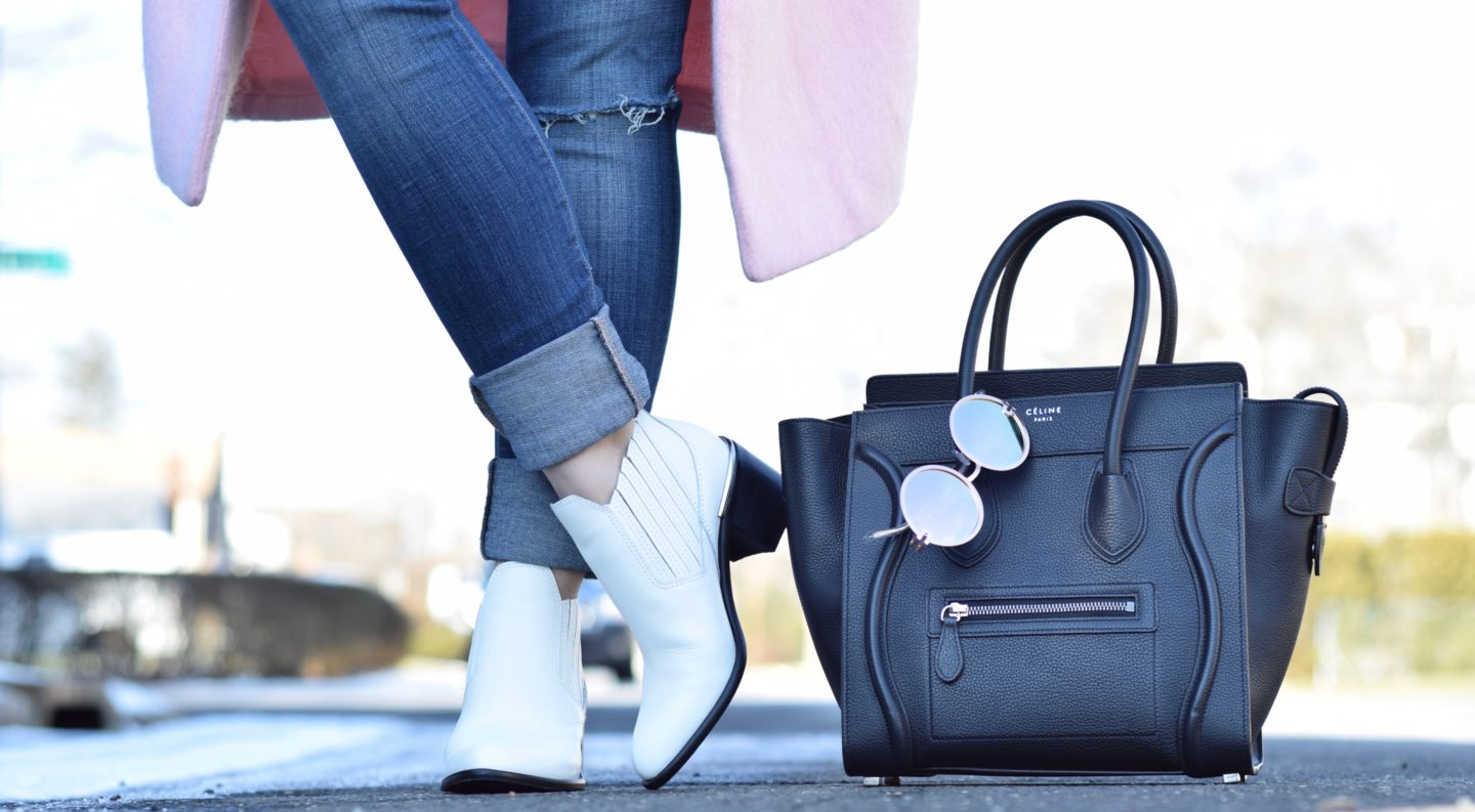 dolce vita white booties-celine bag-squay sunglass