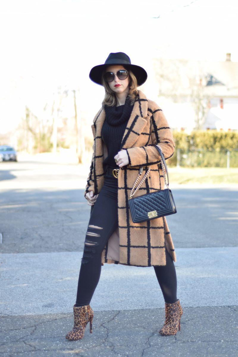 grid coat-black and camel coat-printed coat