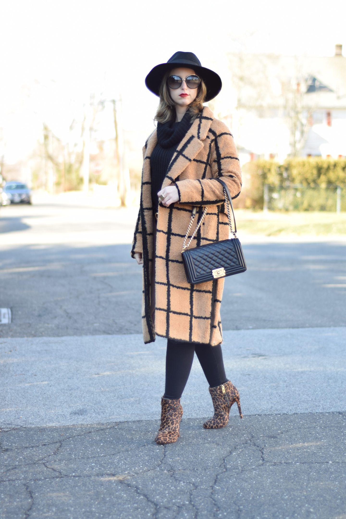 statment coat-j brand jeans-hat-sweater