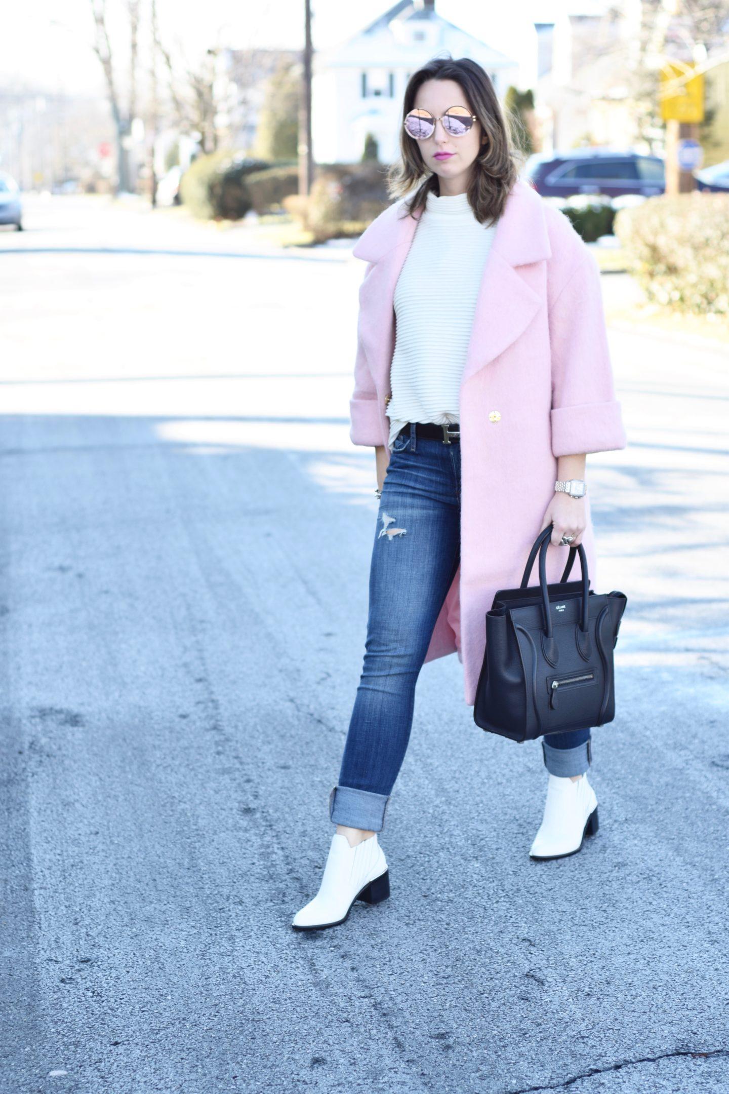 wearing color- hm pink coat-blogger