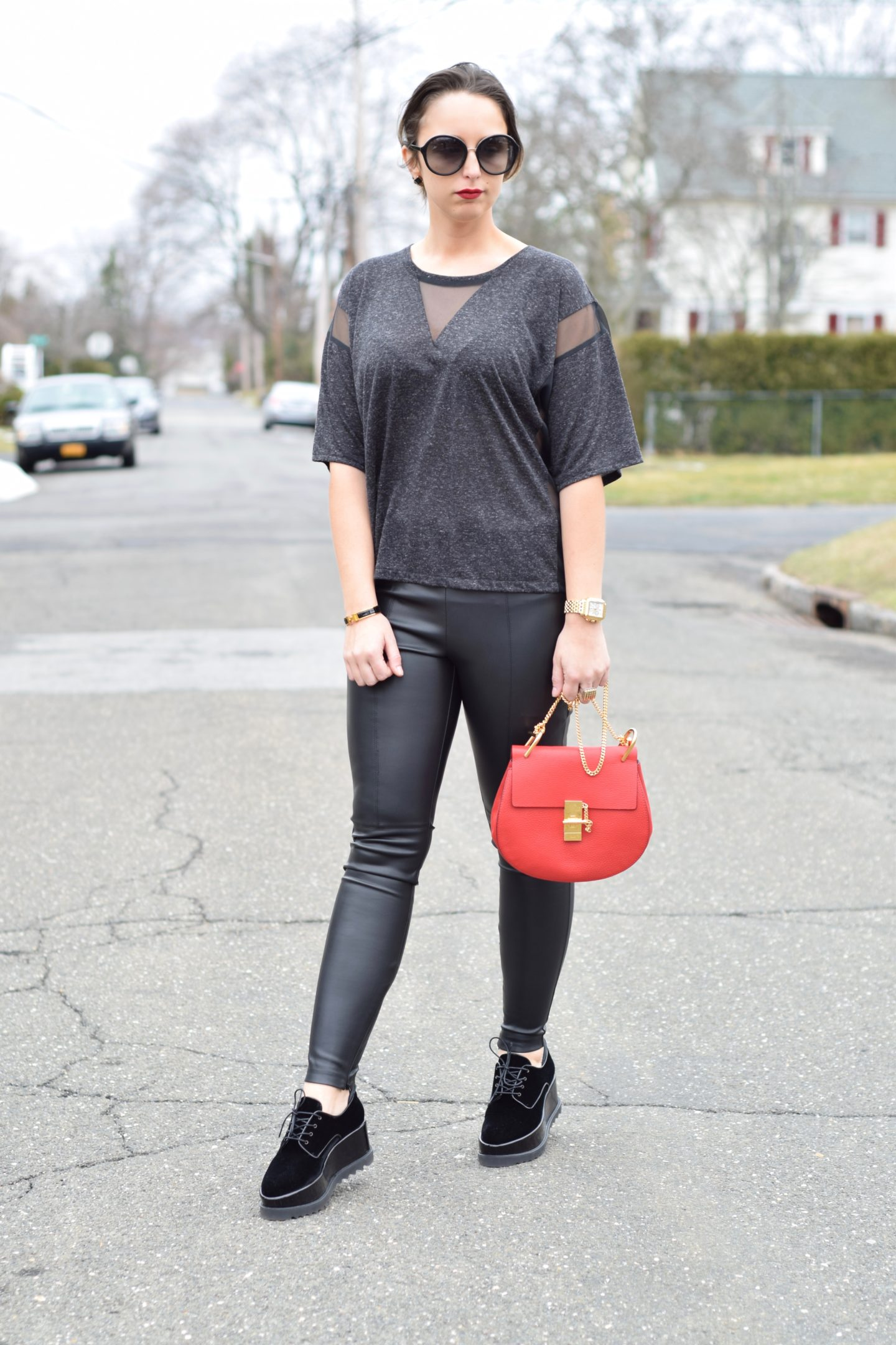 chloe drew bag-red bag-leather leggings
