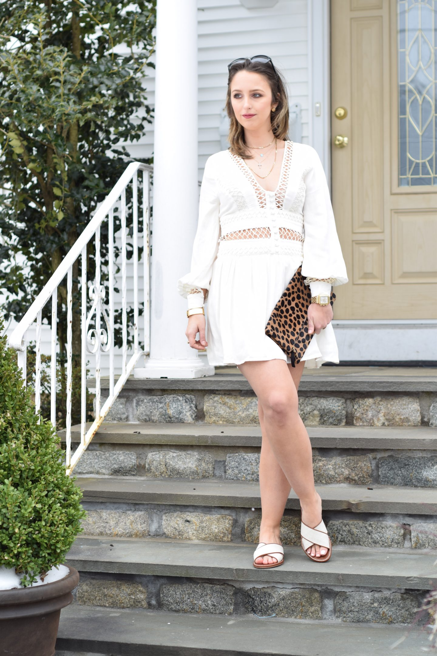 free people-white dress-leopard clutch