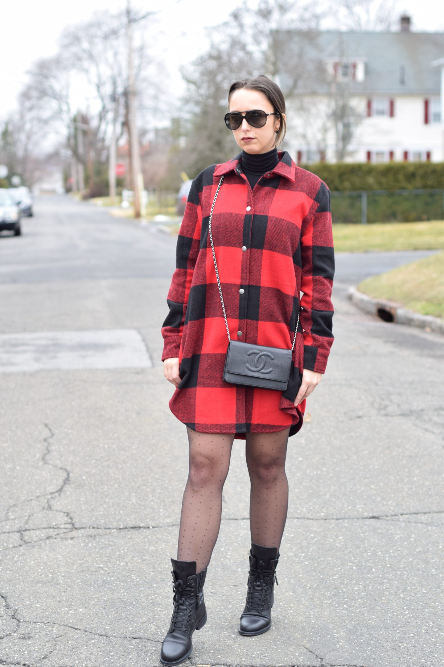 red plaid-tights-chanel-designer