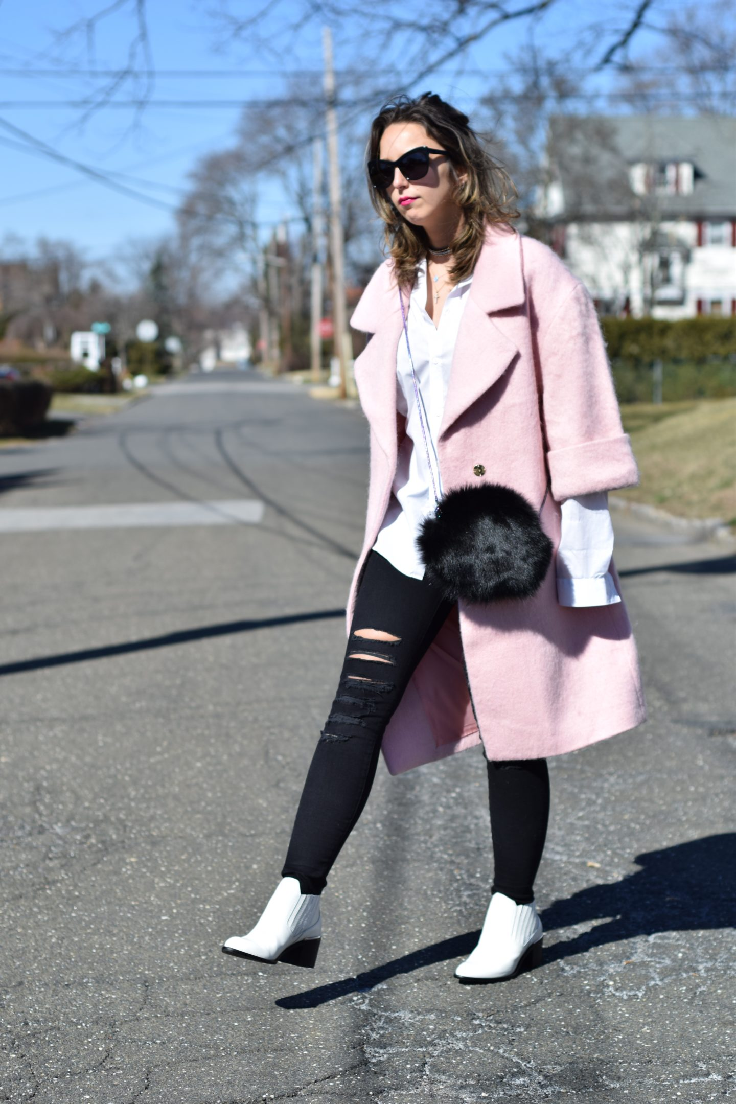 hm pink coat-white blouse-favorites-outfit