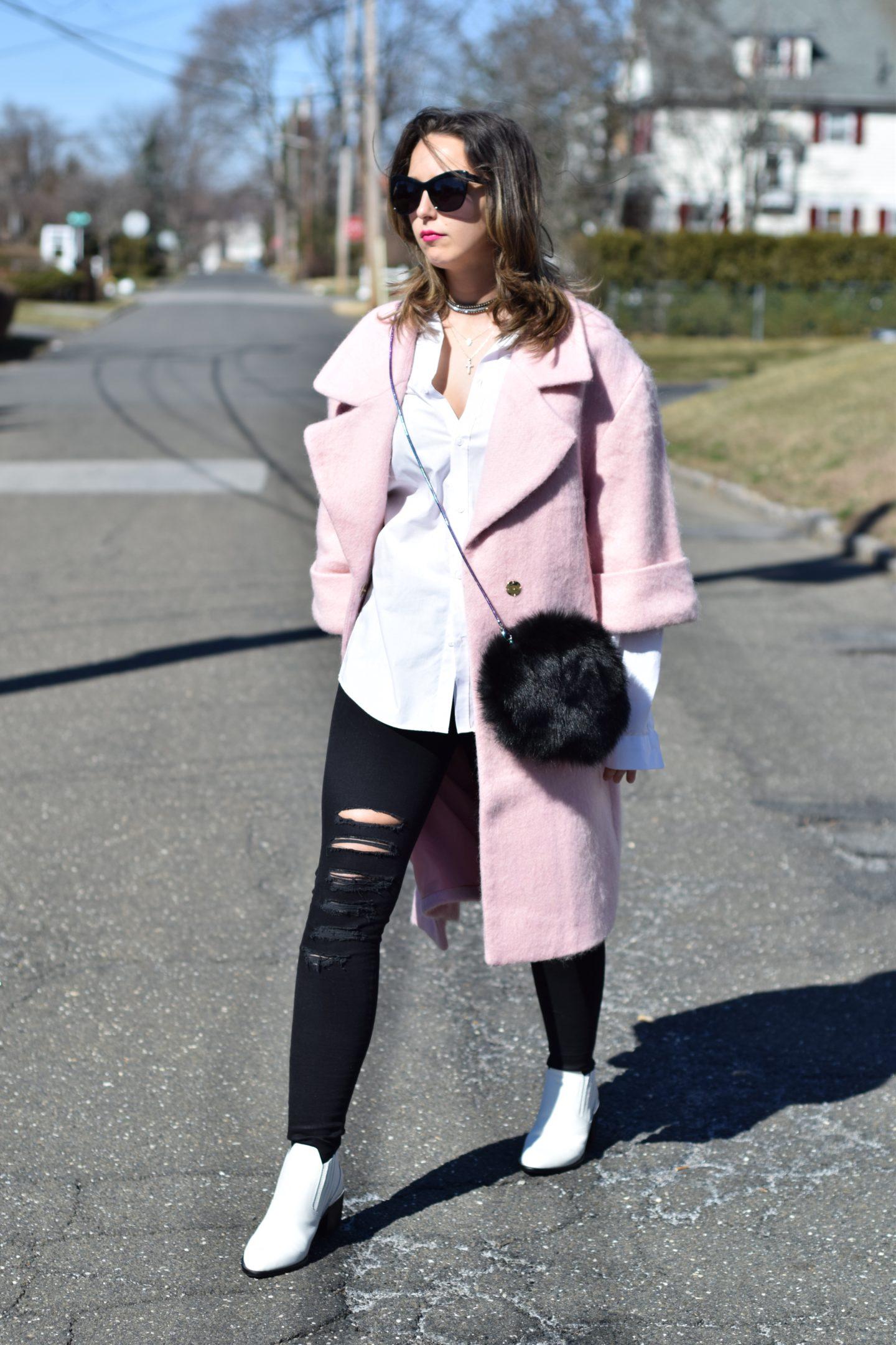 pink coat-hm blouse-j brand jeans