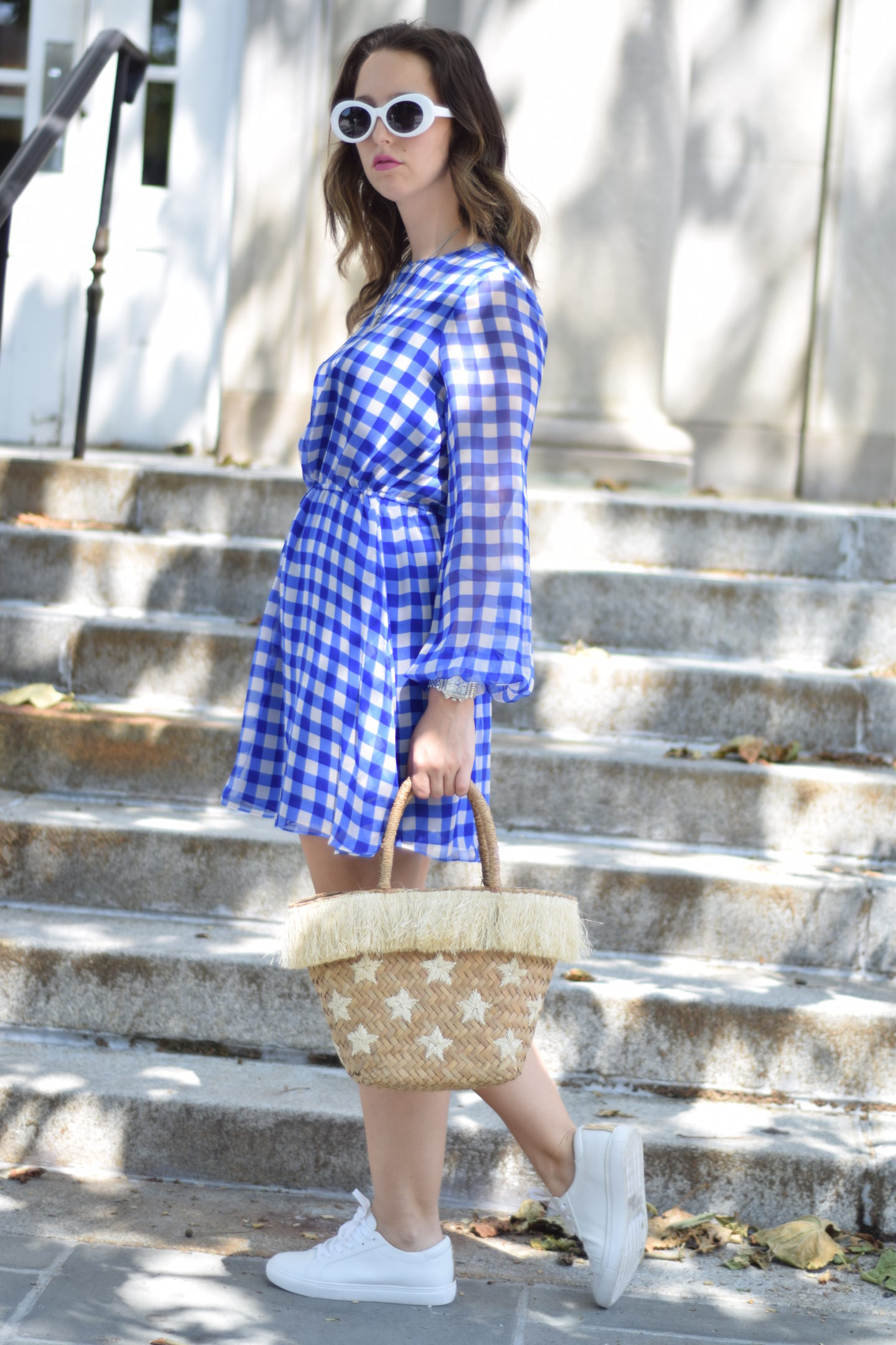 dress-sneakers-straw bag-white sunglasses