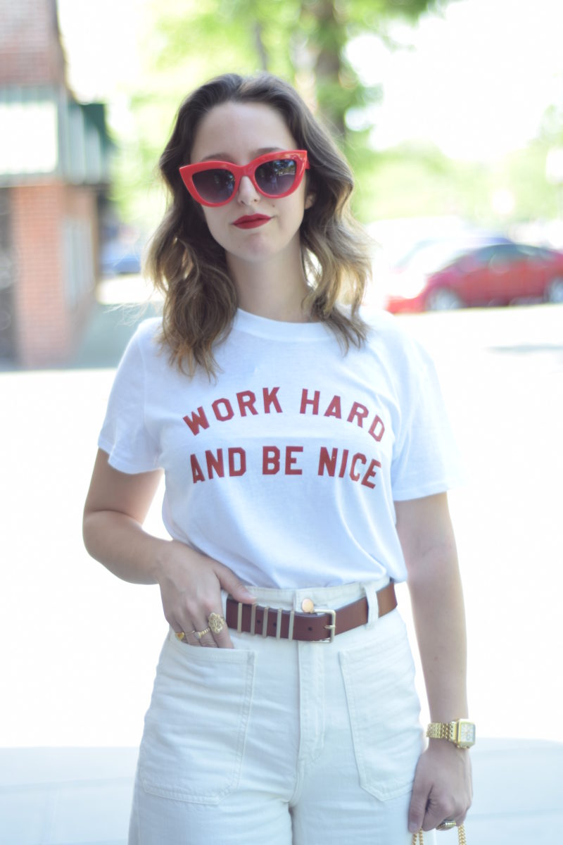 graphic tee-red sunglasses-ny style