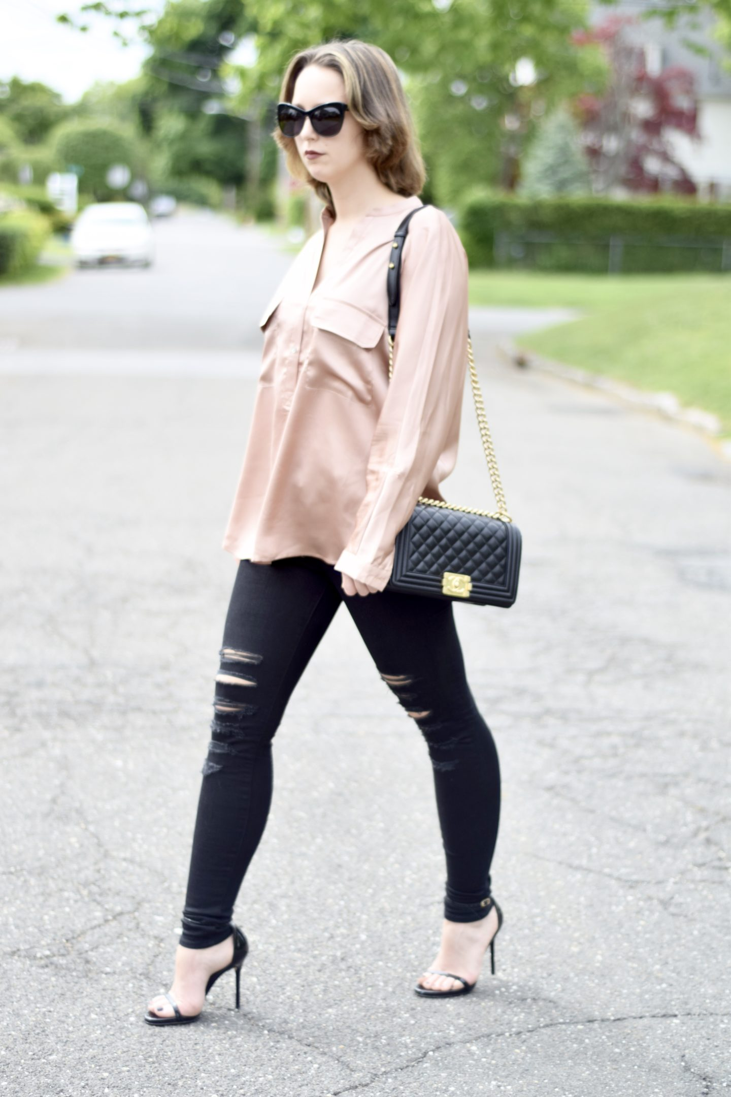 missguided-style-blogger-satin blouse
