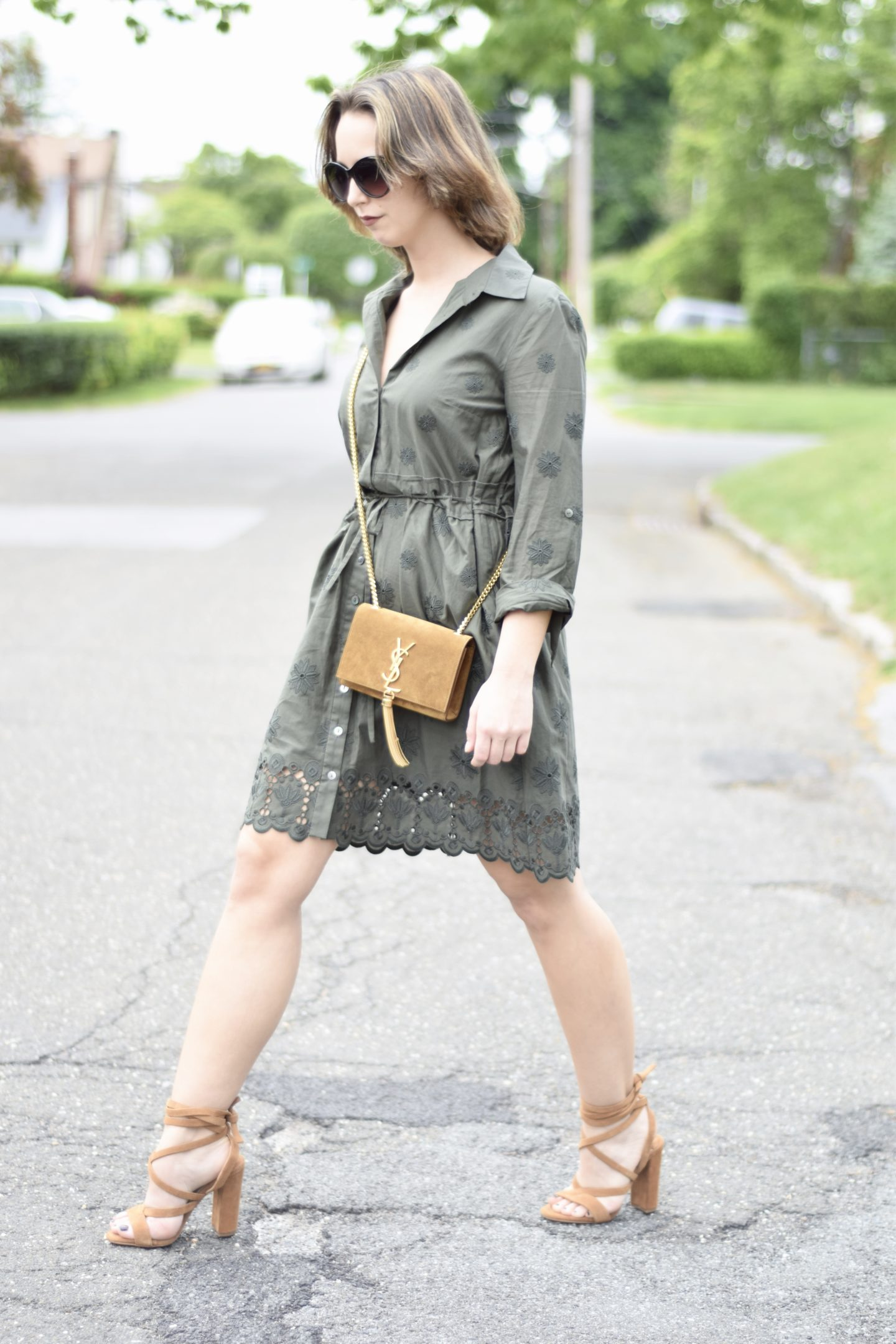 dvf-safari green-dress-ysl-outfit