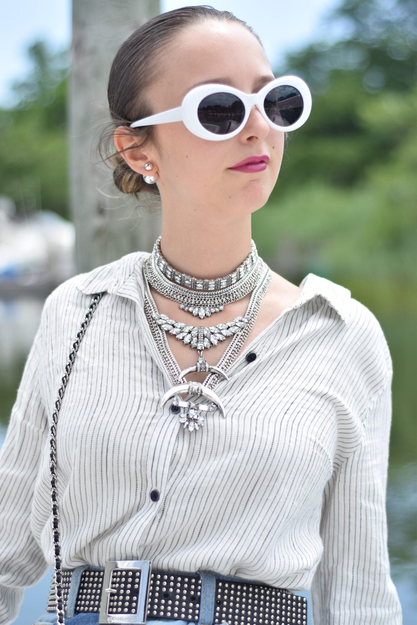 bauble bar-white sunglasses-studded belt