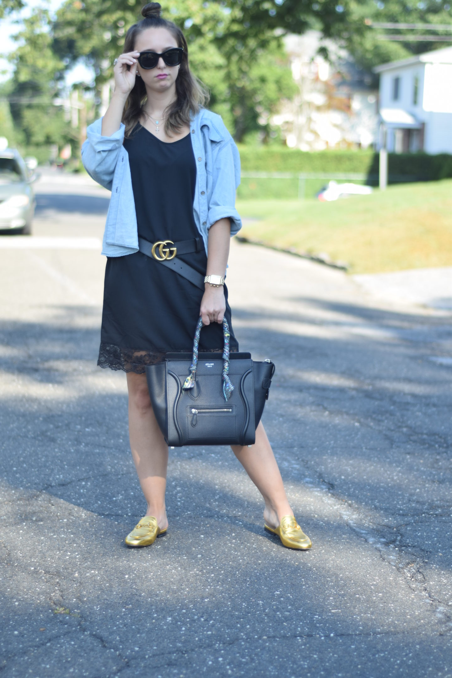 Black slipdress-gold Gucci loafers-new york-style