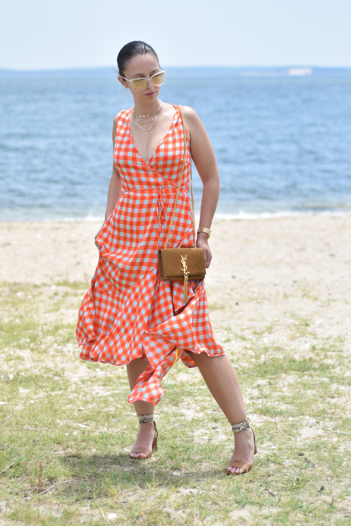 dvf-ysl-gingham dress-blogger