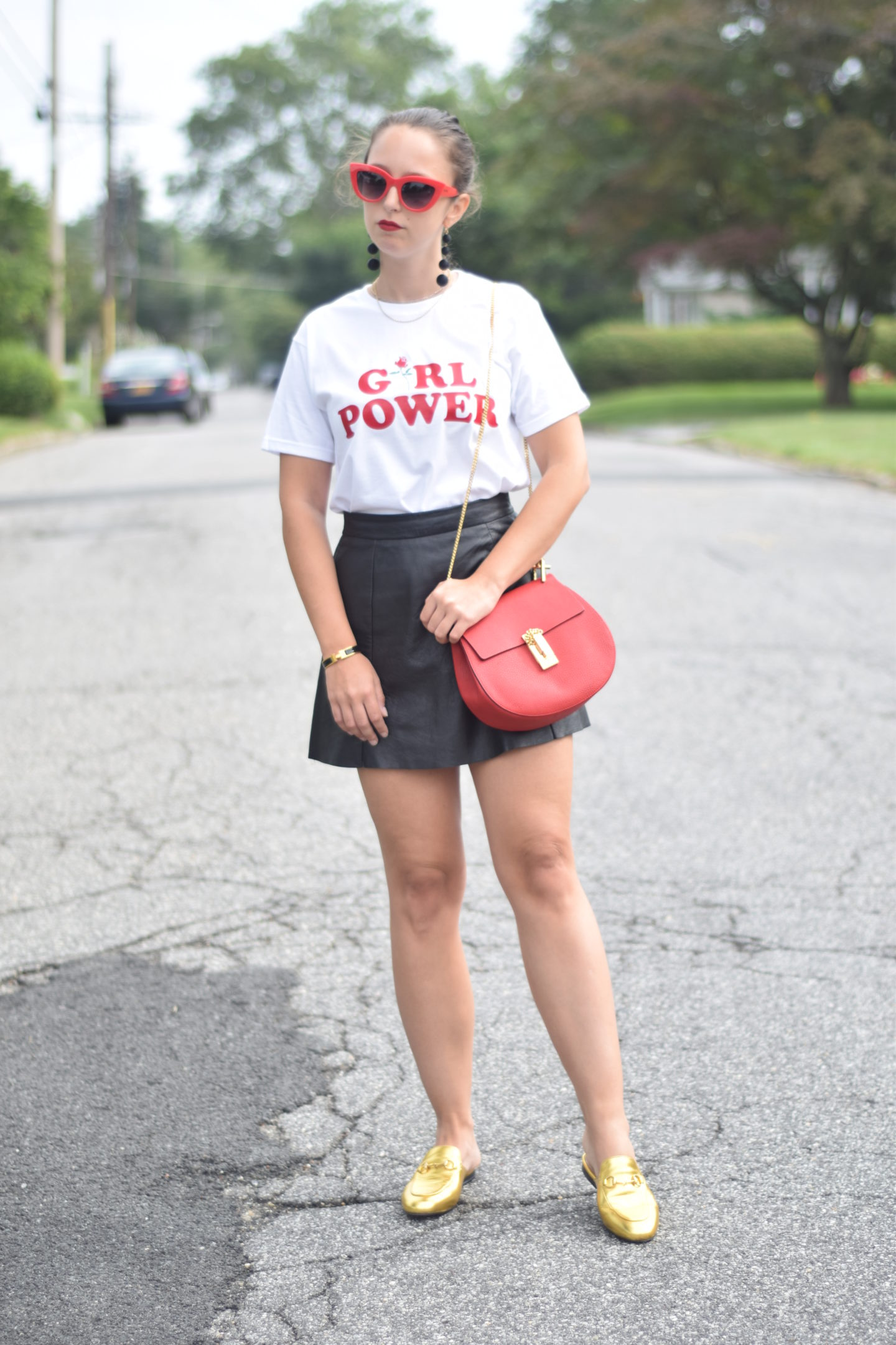 girl power tee-red sunglasses-chloe bag