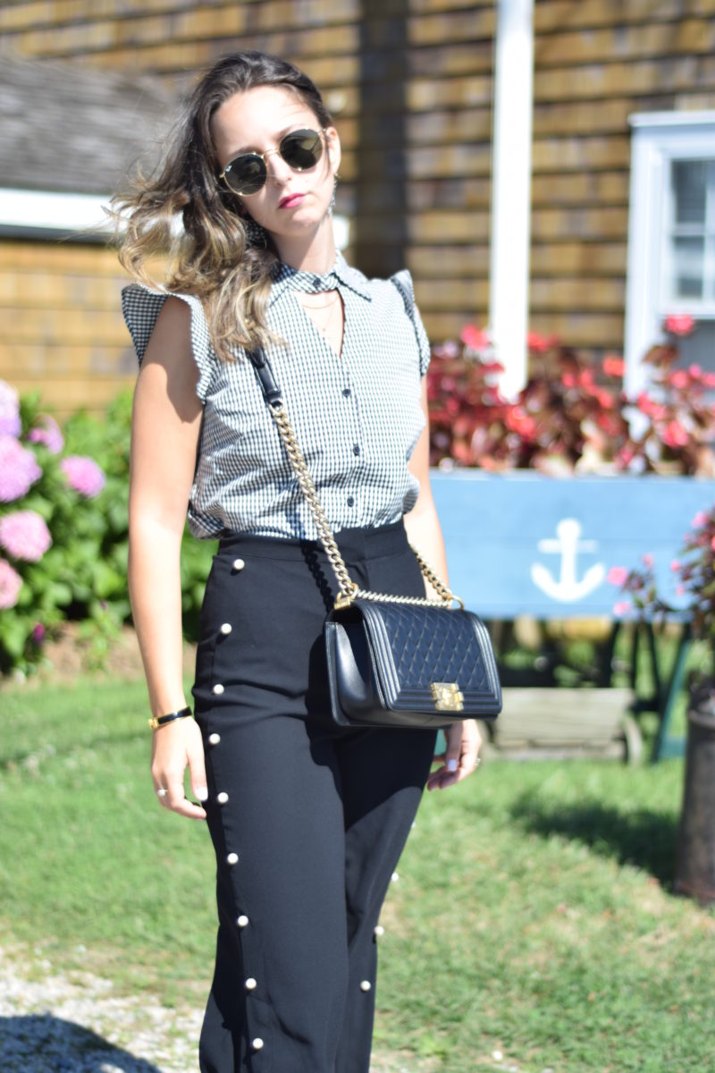 chanel-boy bag-gingham-ray ban