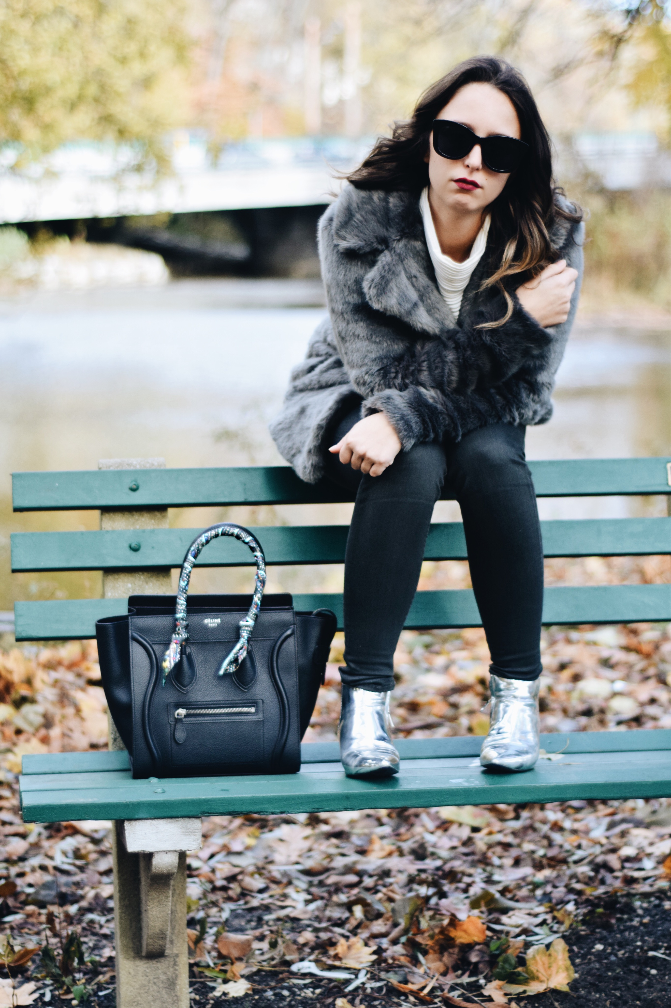 Why I love Westchester County-Style-faux fur coat-unreal fur-outfit-ny-Street style-blogger-silver booties