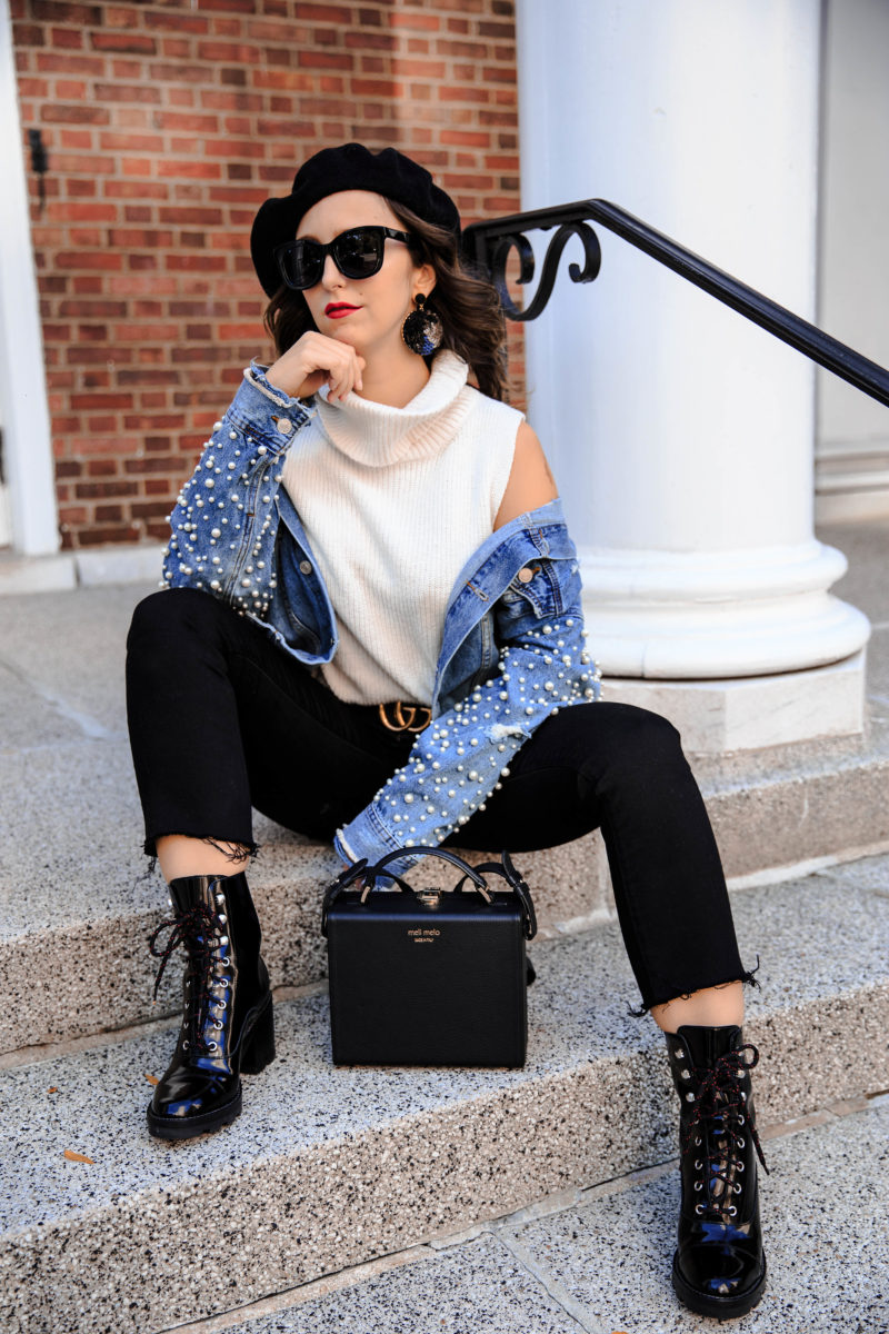 pearl embellishments- denim jacket-style-outfit-new york-blogger