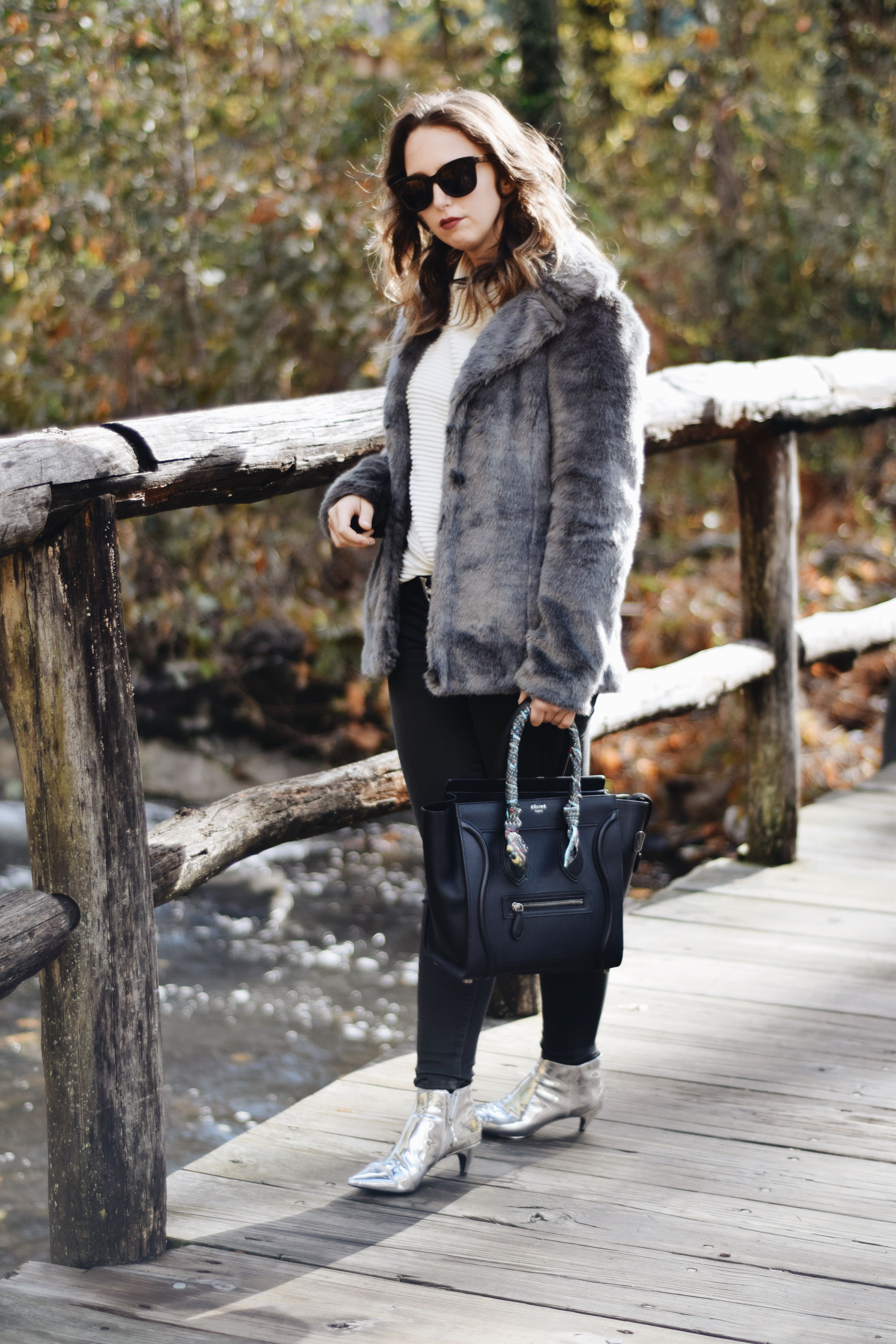 Style-faux fur coat-unreal fur-outfit-ny-Street style-blogger-silver booties
