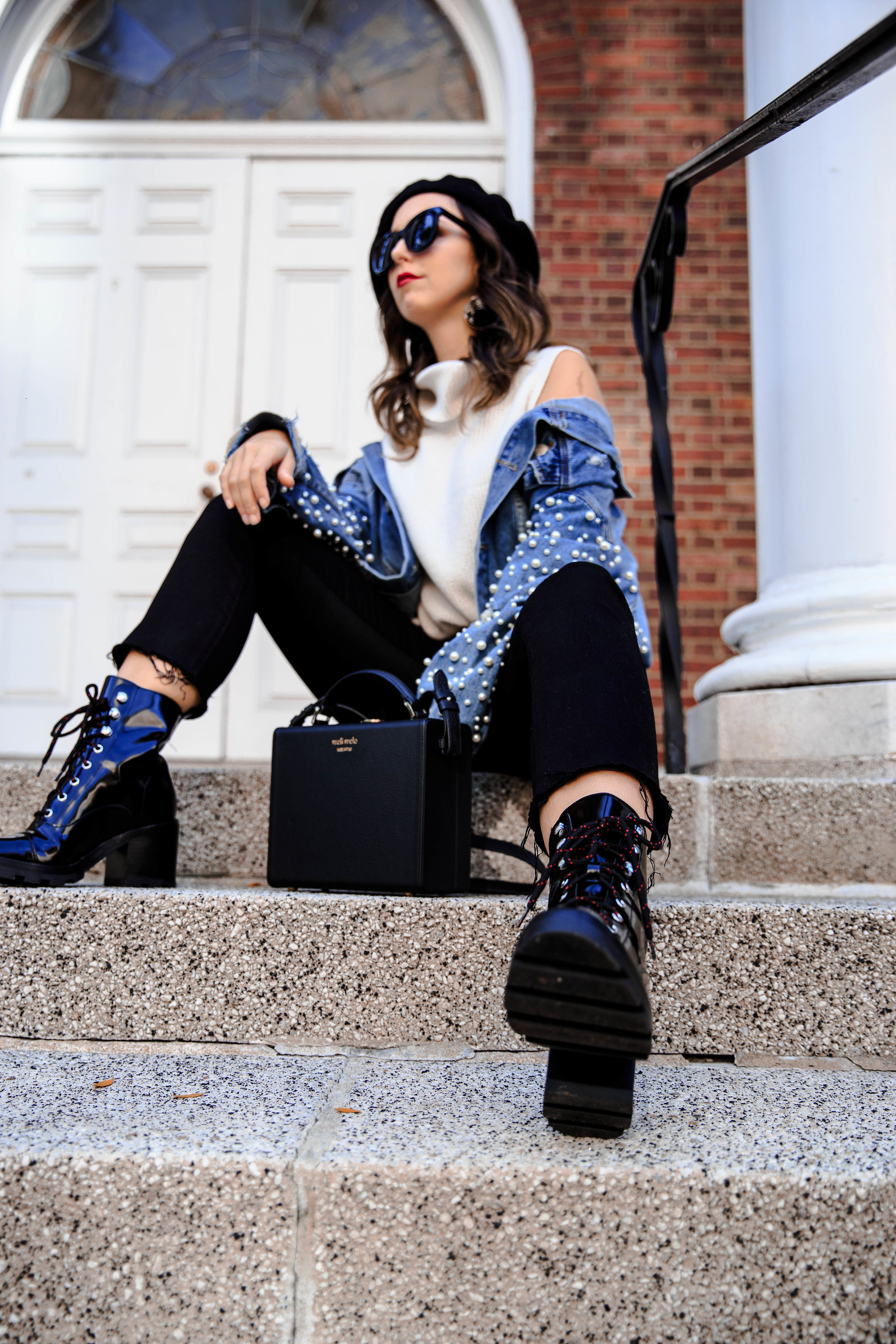 pearl jacket-style-blogger-new york-marc fisher-street style-outfit insp-frame-jeans-box bag