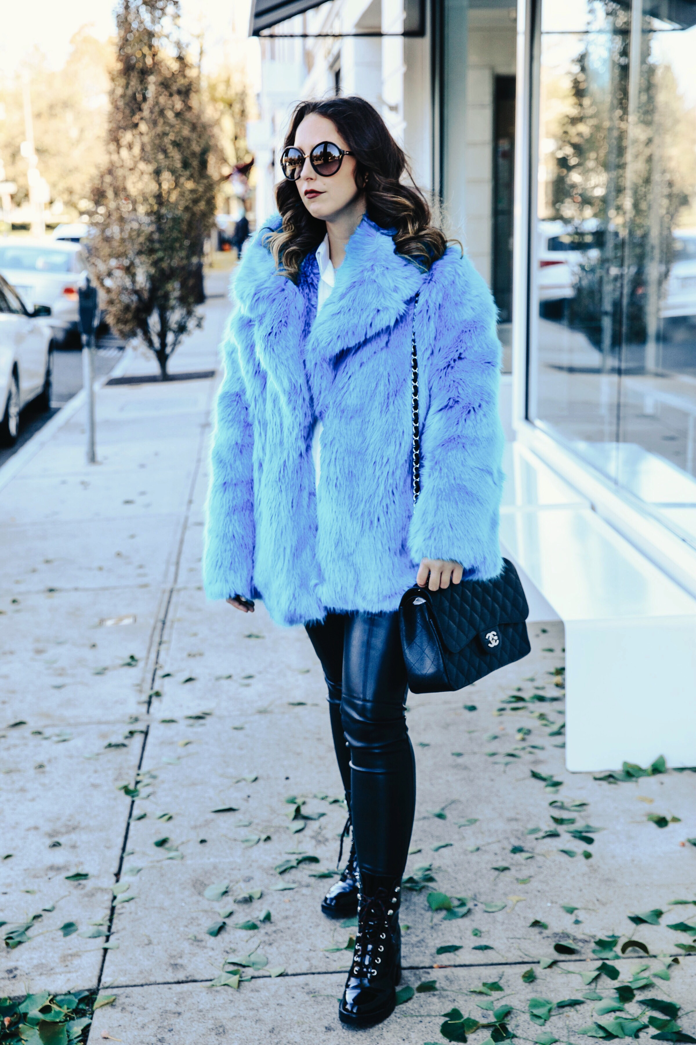 faux fur coat-street style-fashion-new york-2017-winter-outfit-dvf-leather pants-zara