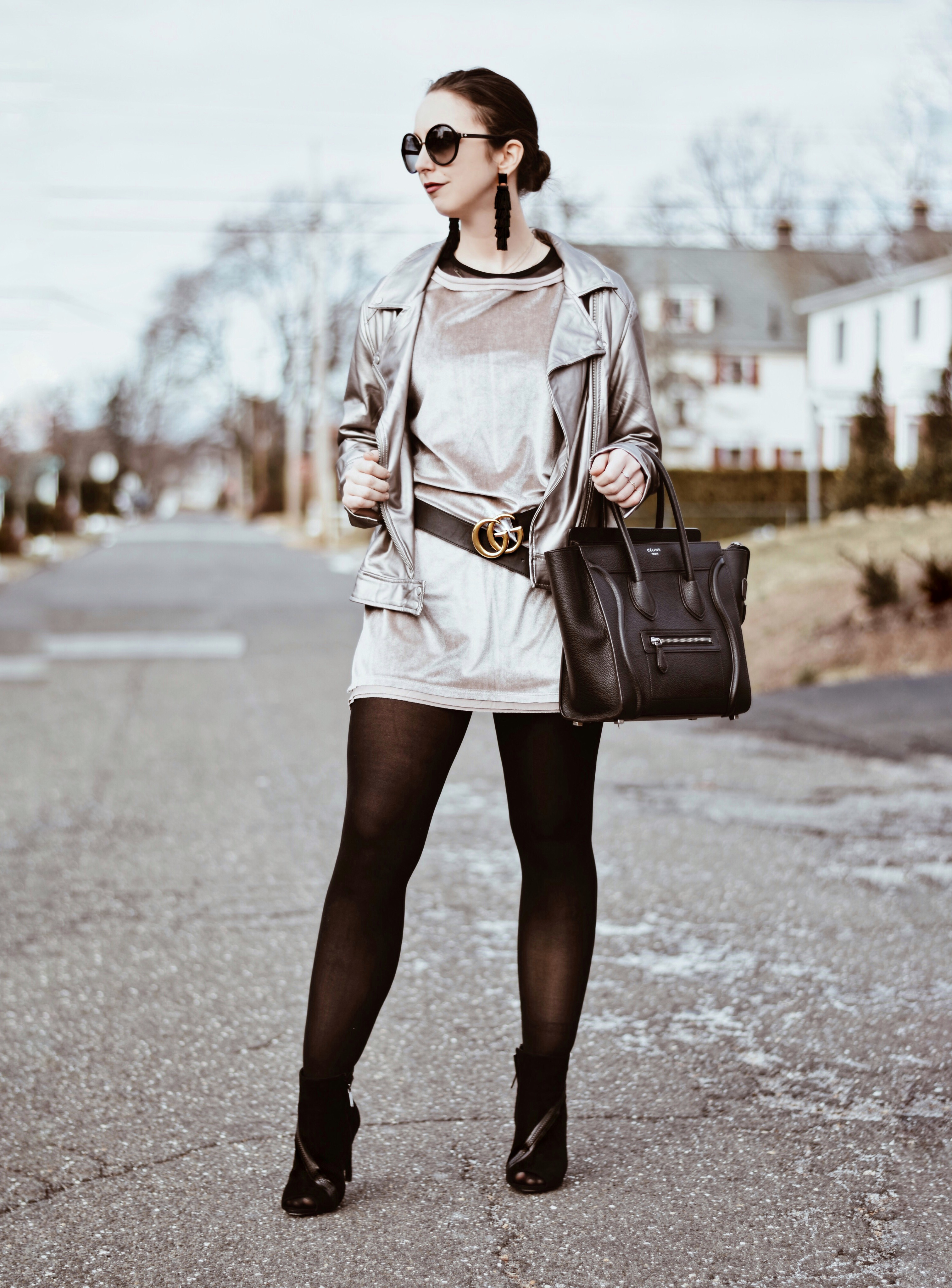 valentines day style-outfit-street style-velvet dress-celine bag-westchester-bauble bar