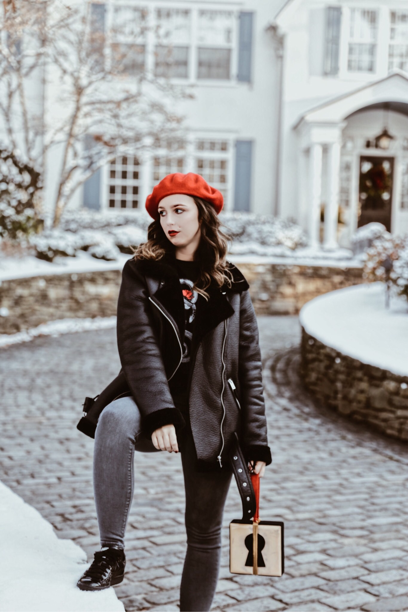 Staying Motivated-beret-pop of red-t shirt-street style-fashion-outfit-edgy style-new york-nyc-suburbs-casual outfit-ootd